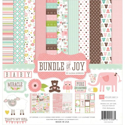 "Echo Park - Bloc de  papier double face ""Bundle Of Joy Girl""  12"" X 12""   12 feuilles"